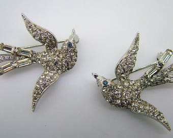 Vintage Sterling Bird Set in Rhinestones - 1940-50 - Wonderful!