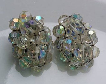 Vintage Aurora borealis crystal swarovski clip on earrings