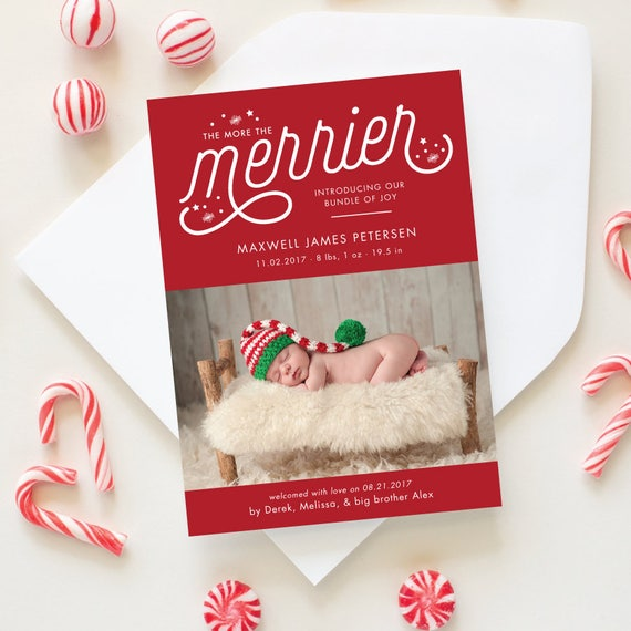 Christmas Birth Announcement, More the Merrier Holiday Card with Newborn Photo, Baby's First Christmas Card for Winter Baby | Merrier