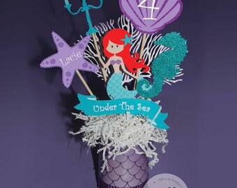 Mermaid Centerpieces, Ariel Centerpiece, The Little Mermaid Centerpiece, Mermaid Birthday, Mermaid Party, Ariel Birthday, Ariel Party, Red