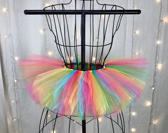 Rainbow Tutu - Custom Rave Tutu - Neon Tutu - Available in Infant, Toddlers, Girls, Teenager, Adult and Plus Sizes