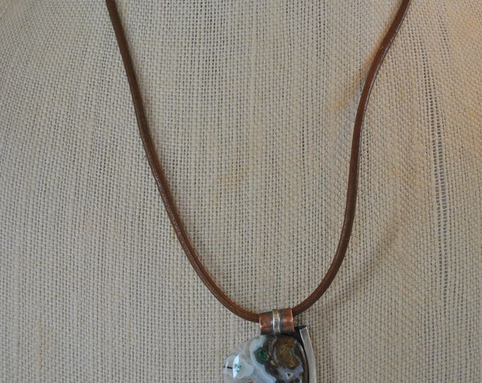 Mixed metals Ocean jasper with drusy stone on sterling and copper pendant on leather necklace,  Boho, gemstone