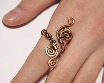Wire wrap ring - copper ring - adjustable wire wrapped copper ring - wire wrapped jewelry handmade ring - copper jewelry