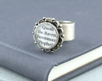 Edgar Allan Poe Jewelry / The Raven / Gothic Ring / Edgar Allan Poe Quote / Quoth the Raven, Nevermore / The Raven Poem / Literature Gifts