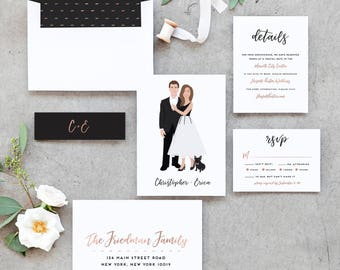 Portrait Wedding Invitations with Couple Portrait Wedding Invite - Custom Wedding Invitations The Penny