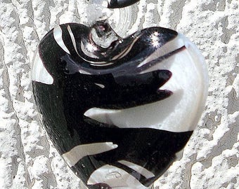"Pendant Necklace with a big heart lampwork transparent and black rubber cord: ""Yin Yang"""