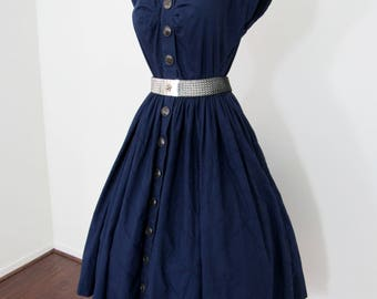 Classic 1950s Navy Blue Cotton Summer Dress