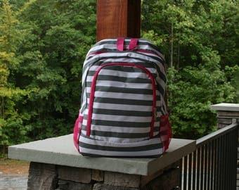 Monogram Backpack Gray Stripe Pink Trim