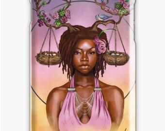 Libra iPhone Case  Zodiac African American Goddess Black Girl Magic Afrofuturism by Sheeba Maya