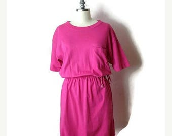 ON SALE Vintage Vivid Pink Short sleeve T-shirt Dress from 80's*
