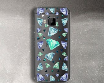 Diamonds phone case for HTC One M9 Case clear for HTC 10 Case transparent for Huawei P9 Case turquoise for Galaxy S8 Plus