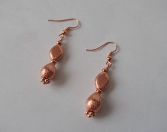 Rose Gold Simple Beaded Earrings, Brush Textured Beads, Marquise and Drops, Rose Gold Plated