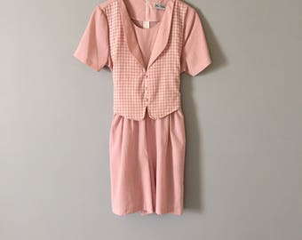dusty rose romper || checkered gingham romper || vest romper