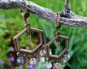 Grey Chandelier Earrings, Dangle Earrings, Gypsy Earrings, Antique Gold  Earrings