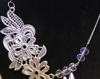 Silver Metal Lace, Clear, Pearl beaded Necklace, Metal Lace Pendant, One of a Kind Beaded Jewellery Gift for Her