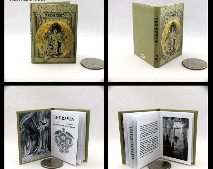 1:6 Scale Book THE RAVEN By Edgar Allen Poe Readable Book Barbie Play Scale - Blythe Momoko Pullip Barbie Scale Readable Book
