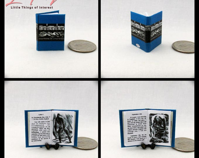 FRANKENSTEIN Miniature Book Dollhouse Book 1:12 Scale Illustrated Readable Book Mary Shelley Modern Prometheus 1818