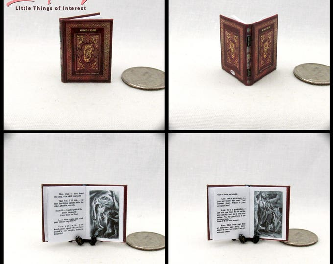 KING LEAR Miniature Book Dollhouse 1:12 Scale Book A Tragedy by William Shakespeare