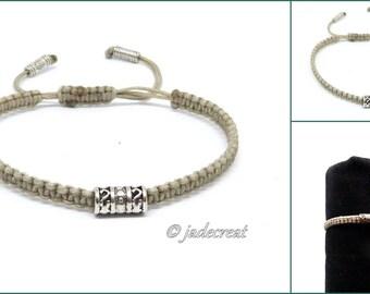 Mens bracelet - macrame - gray - ref 030 Br