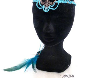 Head band macrame - ref: 0010 - turquoise and copper tones