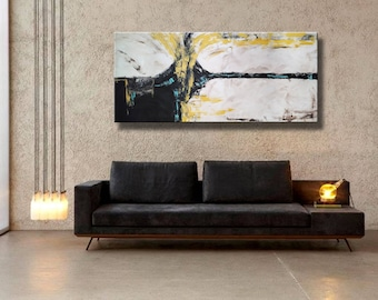 "72x32"" Original Abstract Acrylic Painting Extra Large Yellow Black Gray White Mustard Mocca on Canvas Wall Art"