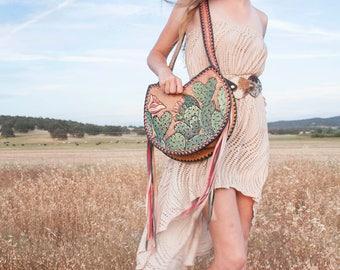 Sweetheart Cactus Purse- Tooled Leather