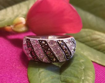 Sterling Silver Ring with CZ and Marcasite Accents (st - 2049)
