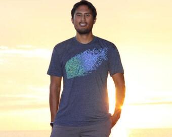 Ulua school of fish shirt blue green screen print on soft for Big fish screen printing