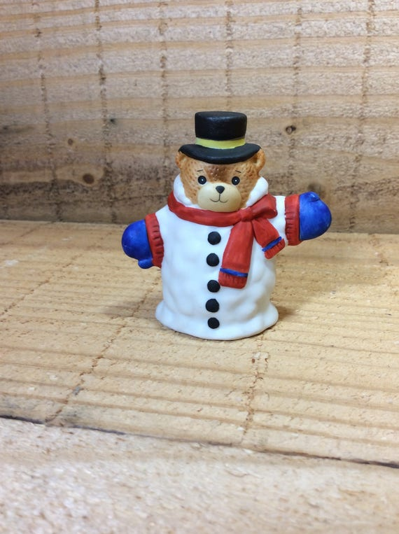 Vintage Lucy Rigg bear, Lucy Rigg Snowman Bear, Snowman Bear decor, Christmas decor, Lucy Rigg Collector, vintage 1987 Lucy Rigg Enesco bear