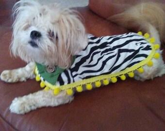 Zebralicious Reversible Dog Poncho, Dog Coat, Dog Jacket, Dog Costume: Lightweight, Custom Made Dog Apparel