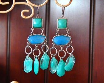 Aqua Blue Chandelier Earrings, Long Dangly Earrings Periwinkle Blue and Aqua Blue, Ocean Blue Earrings, Spring Trends