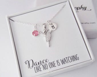 Ballerina Necklace - Ballet Jewelry - Dancer Gifts - Personalized 925 Sterling Silver Jewelry with Cubic Zirconia - Initial and Birthstone