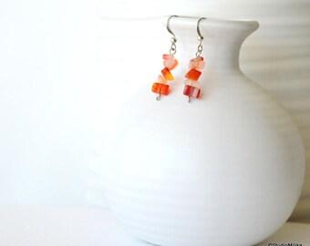 Seaglass Earrings, Multicolor Earrings, Orange Earrings, Small Earrings, Colorful Earrings, Nugget Earrings, Dangle Earrings, Beaded Earring