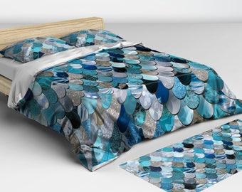 Mermaid Bedding Aqua - Blue, Navy, Duvet Cover - Mermaid Bedding - Twin, Full, Queen, King Sizes - Matching Lumbar Pillow Available