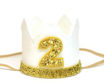 Second Birthday Crown || 2nd Birthday Crown || Birthday Girl Crown || Felt Glitter Birthday Crown || Boy Birthday Crown