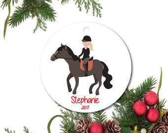 Horseback riding etsy equestrian ornament horse ornament personalized christmas ornament little girl ornament ceramic horse yadclub Choice Image