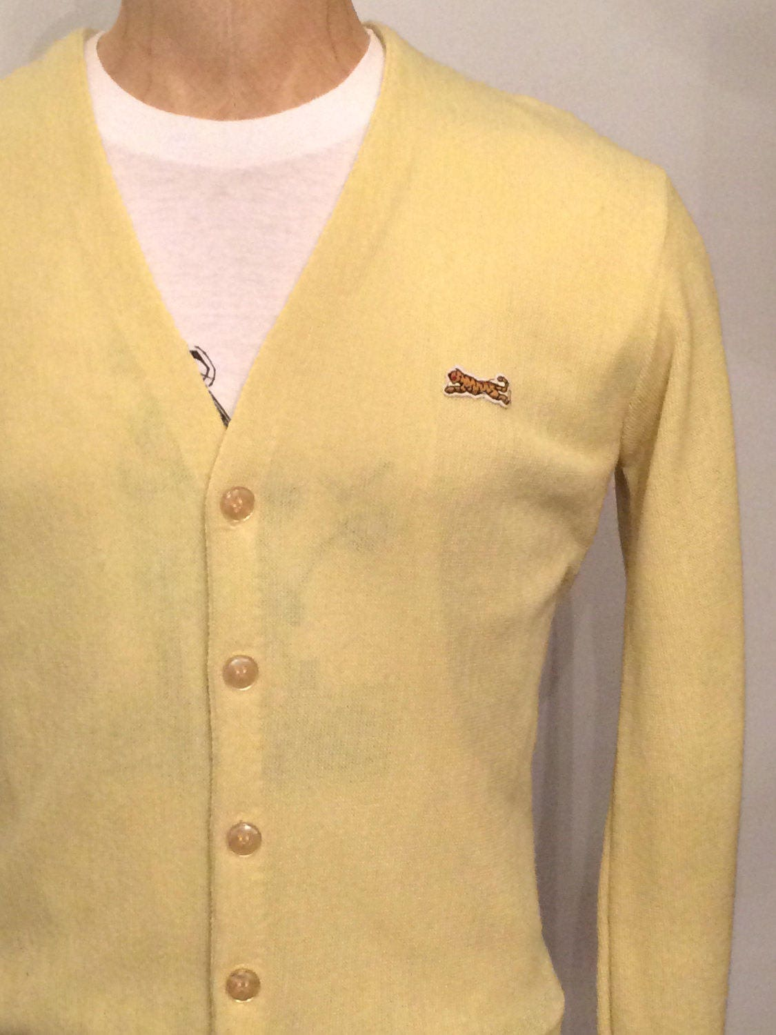 Vintage MENS 1960s Le Tigre for Campus yellow cardigan