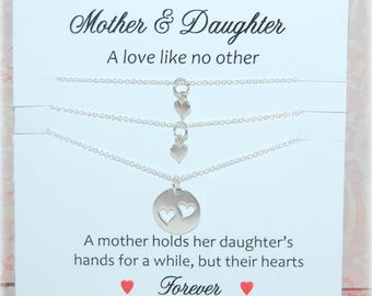 Mother Daughter jewelry, Mother of Two Daughters, Two silver heart necklaces, Mother of 2, For MOM, Meaningful jewelry, Sterling Silver