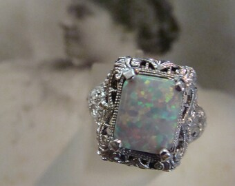 Lovely Sterling Silver Filigree Opal Ring  Size 6.75 Victorian design