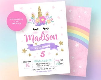 Unicorn Invitation, Unicorn Birthday Invitation, Unicorn Party Invitation, Magical Unicorn Party, Rainbow Unicorn Invitation, Unicorn Invite