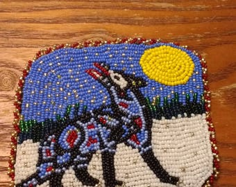Fully beaded picture, Wolf and Moon