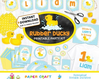 Rubber Ducky Printable Party Kit | Rubber Duck Invite & Decorations | INSTANT DOWNLOAD and Edit in Adobe Reader | Paper Craft Party