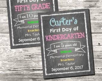 First Day of School Sign Chalkboard Printable Personalized Digital