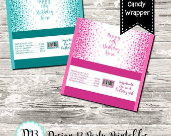 Colorful Confetti Birthday Party Candy Bar Chocolate Bar Wrappers Favor Print Your Own