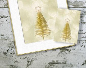 Christmas Printable Art, Christmas Tree Print, Gold Christmas Decorations, Digital Art Instant Download