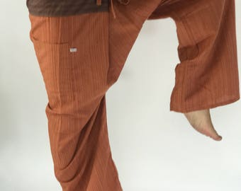 2TC0005 Brown Thai Fisherman Pants with Thai hand woven fabric on waist side, Wide Leg pants, Wrap pants, Unisex pants