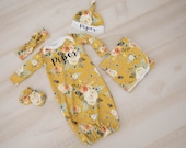 Baby Girl Coming Home Outfit, newborn gown: Organic Mustard Earth Tone Floral Personalized Gown, Tie Headband, Knot Hat, Swaddle, Mitts