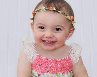 Baby Girl Crown, Birthday Girl Crown, Flowers Crown, Orange Headband, Flowers Crown, Infant Headband, Flowers Headband, Birthday Crown