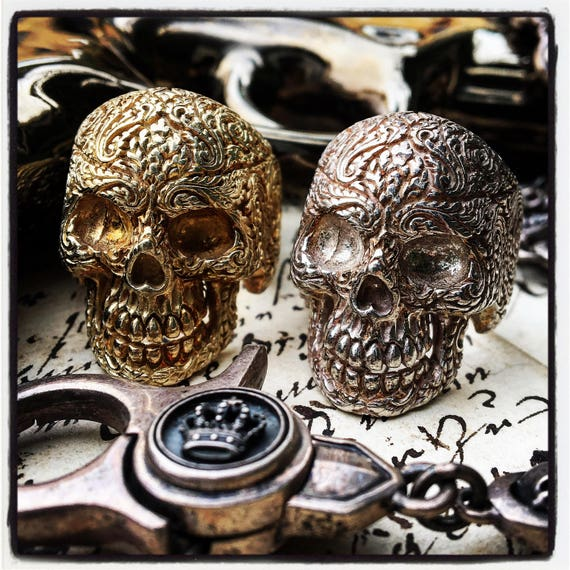 Etherial Jewelry - Rock Chic Talisman Luxury Biker Custom Handmade Artisan Pure Sterling Silver .925 Handcrafted Luxury Skull Biker Ring