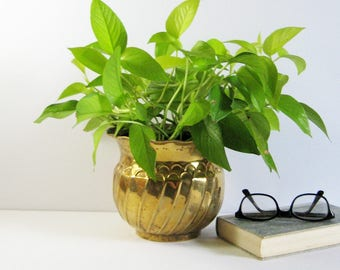 Vintage Brass Planter w Spiral Stripes & Fluted Rim - 6 Inch Tall Brass Cactus Pot Succulent Planter - Brass Home Decor - Indoor Garden Pot